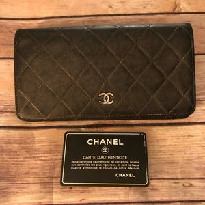 Authentic Chanel CC mark long leather wallet